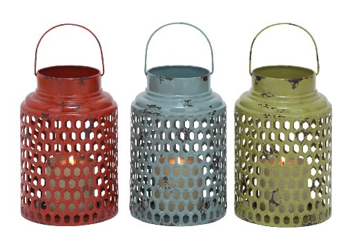 Plutus Brands 3 Assorted Metal Candle Holder with Lantern Design