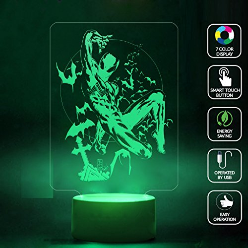 [CMLART Spider Man Batman and Cross 3d Lamp Night 7 Color Change Best Gift Night Light LED Furnish Desk Table Lighting Home Decoration] (Amazing Spider Man Costumes 360)