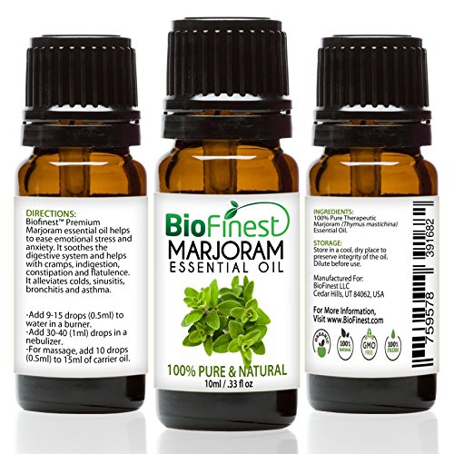Biofinest Marjoram Essential Oil - 100% Pure Undiluted - Premium Organic - Therapeutic Grade - Best For Aromatherapy - Antiseptic - Ease Stress/Anxiety - FREE E-Book (10ml)