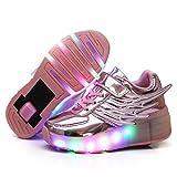 Cool Gift Kids Wings Single Wheels Skate Shoe Fashion Roller Sneakers Birthday Gift (Pink - 2.5 )