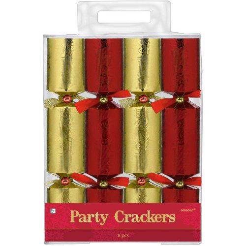 Festive Christmas Embossed Red and Gold Foil Paper Crackers Party Favour, Paper, 9