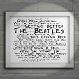 `Noir Paranoiac` Art Print - THE BEATLES - Sgt. Pepper's Lonely Hearts Club Band - Signed & Numbered Limited Edition Typography Wall Art Print - Song Lyrics Mini Poster