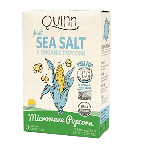 Quinn Popcorn Microwave Popcorn - Made with Organic Non-GMO Corn - Great Snack Food for Movie Night {Just Sea Salt, 1 Box} (Coconut Butter For Popcorn compare prices)