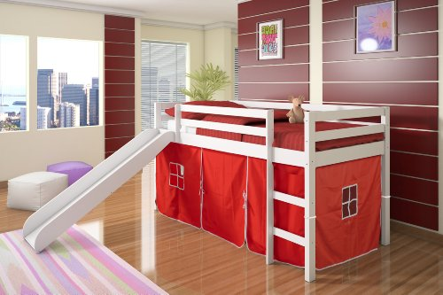Superb Twin Tent Loft Bed w Slide White Finish Red Tent