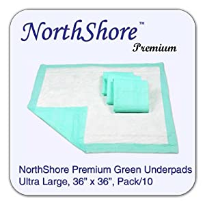 NorthShore Premium Green Super-Absorbent Underpads, Ultra Large Size 36 x 36, Pk/10