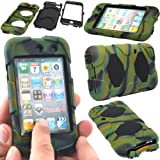 GLITZY GIZMOS GREEN ARMY CAMOUFLAGE SURVIVOR MILITARY COMBAT BUILDERS HEAVY DUTY SHOCK PROOF TOUGH CASE COVER WITH BELT CLIP + BUILT IN SCREEN PROTECTOR FOR APPLE iPOD TOUCH 4 4G 4th GENERATION GEN