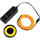 Onite® 16.4ft Yellow Neon Glowing Strobing Electroluminescent EL Wire Light with Battery Pack Controller for Parties, Halloween, Automotive, Advertisement Decoration