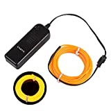 Onite 16.4ft Yellow Neon Glowing Strobing Electroluminescent EL Wire Light with Battery Pack Controller for Parties, Halloween, Automotive, Advertisement Decoration
