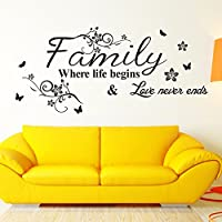 "Family, Love Never Ends - 29.5"" X 13.3"" Wall Sticker Quotes Decor Removable Stickers Decor Vinyl Art (S165 Black)"