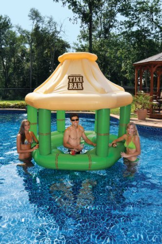 NEW Home & Garden Outdoor Swimming Pool Vinyl Inflatable Floating Tiki Bar by Swimline