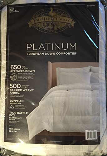 Find Discount Pacific Coast Platinum European Down Comforter - Year Round Comfort (King)