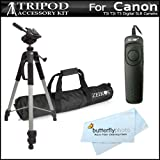 Professional 72-Inch Camera Tripod with RS60 Remote Switch for Canon EOS Rebel T4i, T3i, T2i T3 60D Digital SLR Camera and MicroFiber Cleaning Cloth