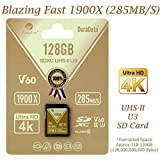 Amplim 128GB UHS-II SD Card. Blazing Fast Read 285MB/S (1900X) Class 10 U3 V60 UHS-2 SDXC Memory Card for Professional 4K 8K Video and UHSII Cameras. 128 GB / 128G SD XC Card TF Flash (Color: Gold 128GB, Tamaño: SD)