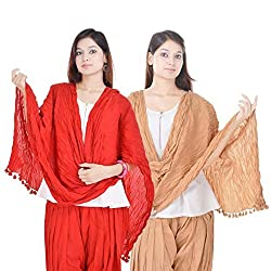 Kalrav Solid Red and Beige Cotton Dupatta Combo