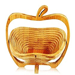 HOKIPO 2-in-1 Wooden Folding Fruit Veggie Basket cum Heat Insulting Table Coaster Trivet