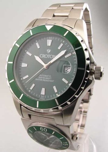 Mens Croton Steel Automatic Dual Time Date Watch CA301150SSGR