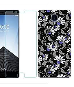 Indiashopers Combo of Black Blue Floral HD UV Printed Mobile Back Cover and Tempered Glass For OnePlus 3