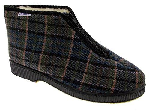 art 566 pantofola uomo panno quadri marrone cerniera 43 marrone