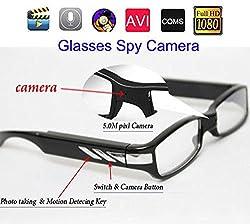 Krazzy Collection Full HD 1080P eyewear glasses Spy Camera V12 black color high resolution 30fps video frame