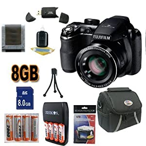 Fujifilm FinePix S4500 Digital Camera (Black) Super Accessory Saver 8GB NiMH Battery/Rapid Charger Bundle