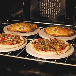 "Pizzacraft PC0003 8"" Round Ceramic Mini Baking/Pizza Stones, Set of 4"
