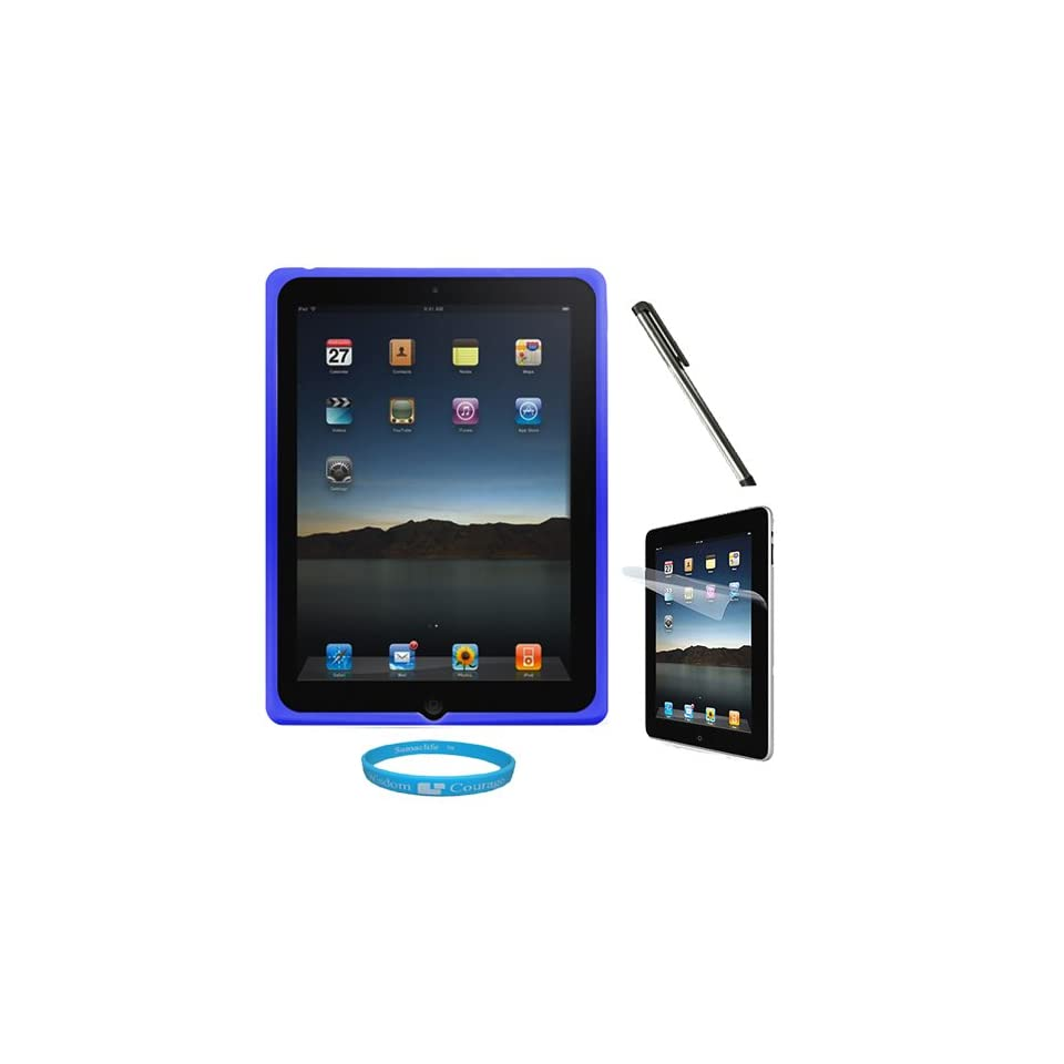 Blue Premium Rubberized Protective Soft Silicone Skin Cover Case for Verizon Wireless New Apple iPad 2 (16GB, 32GB 64GB) 2nd Generation and AT&T Apple iPad 2nd Generation iPad 2 + Clear Anti Glare Clear Screen Protector for Apple iPad 2nd Generation + Silv