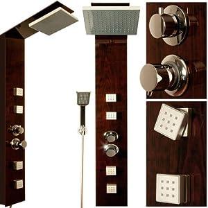 colonne de douche paroi verre effet bois 4 buses de massage pommeau pluie jardin. Black Bedroom Furniture Sets. Home Design Ideas