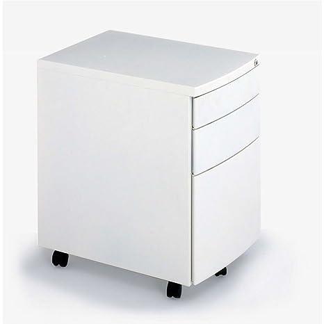 White Metal 3 Drawer Tall Mobile Pedestal From Senator