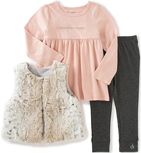 Calvin Klein Baby 3 Piece Faux Fur Vest Set, Gray, 24 Months