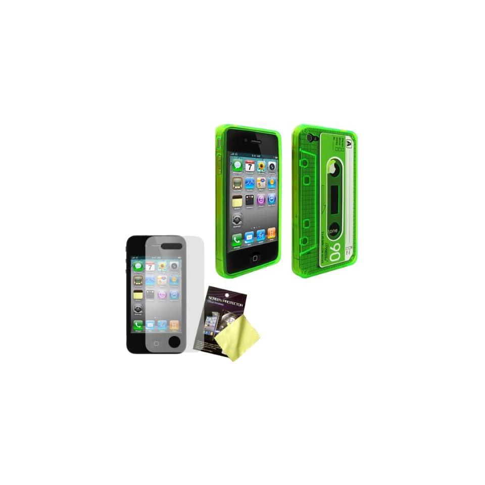 Cbus Wireless Green Flex Gel Cassette Tape Case / Skin / Cover & LCD