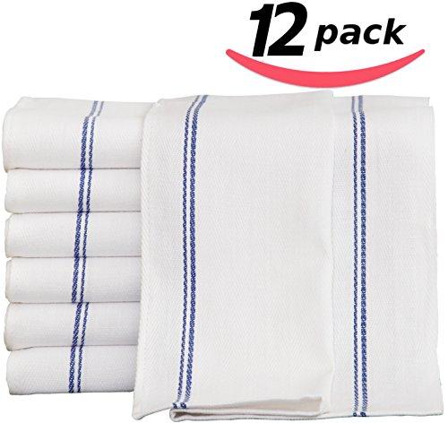 Kitchen-Restaurant-Hotel Dish-Cloth Tea Towels - 12 Pack, White