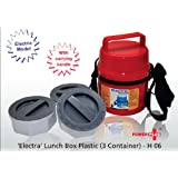 Powerplus Electra Branded Electric Lunch Box- 3 Containers With Plug To Connect.