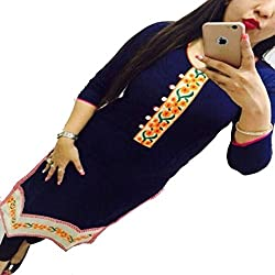 ZHot Fahion Women's Embroidered semi-stitched Selfie Kurti In Georgette Fabric (ZHKRT1003_Free Size_Blue)