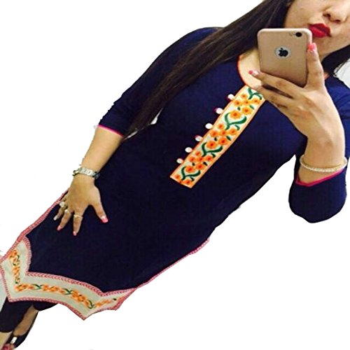 Kesu-Fahion-Womens-Embroidered-semi-stitched-Selfie-Kurti-In-Georgette-Fabric-KUKRT1003Free-SizeBlue