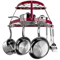 Range Kleen 2 Shelf Wall Mount Pot Rack Red