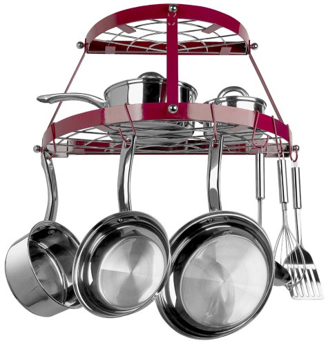 Range Kleen 2-Shelf Wall Mount Pot Rack, Red