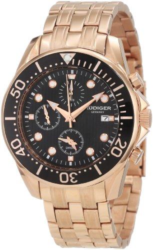 Rudiger Men's R2001-09-007 Chemnitz Rose Gold IP Black Dial Rotating Bezel Chronograph Watch