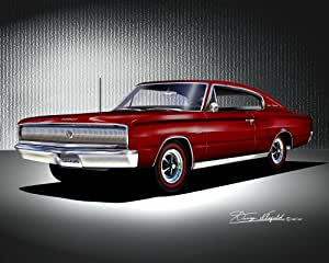 Amazon.com: 1966-1967 DODGE CHARGER Maroon - ART PRINT POSTER BY