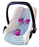 ByBoom® - Funda de verano / funda hecha de 100% algodón, funda universal para portabebés (Moisés), asiento de coche, por ejemplo, Maxi-Cosi CabrioFix, Pebble, City SPS, Color:Blanco/Rayas Azul