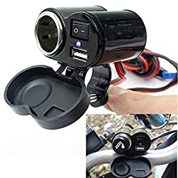 BreaDeep 12-24V Motorcycle Car Cigarette Lighter Socket USB Charger Integrated Adapter with Switch & Handlebar Mount Bracket - for Cellphones,GPS,Tablets and other devices