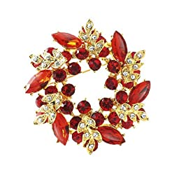 distintive & stylish BUYINHOUSE Ladies Girls Golden Plated Flashing Rhinestones Crystals Bauhinia Flower Chinese Redbuds Brooches Corsage Pin Clips (Bright Red Style)