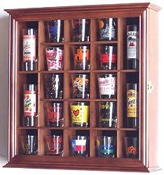 21 Shot Glass Shooter Display Case Holder Cabinet Wall Rack -Walnut