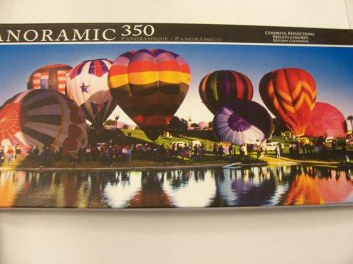 Panoramic 350 Piece Puzzle ~ Colorful Reflections (Hot Air Balloon Fesitval) by LPF