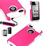 For At&t Sprint Verizon iPhone 4 4s Pink Impact Armor Combo Case + Free Screen Protector & Stylus