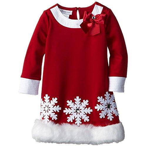 Bonnie Jean Little Girls' Scuba Santa Dress, Red, 4T
