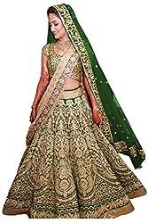 Fabron green bridal heavy lehenga for women.