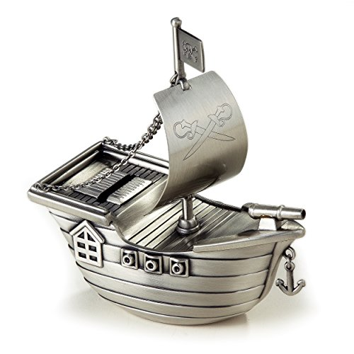 Elegance Silver Pewter Finish Pirate Ship Money Bank