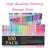 Caliart-100-Gel-Pens-with-Case-for-Adult-Coloring-Books-Scrapbooking-Drawing-Writing-Including-Glitter-Metallic-Pastel-Neon-Swirl-Glitter-Neon-Classic-No-Duplicate