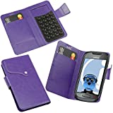 ITALKonline Nokia C7 Purple Super Slim PU Leather Executive Multi-Function Wallet Case Cover Organiser Flip with Credit / Business Card Holder - Suction Pad Design
