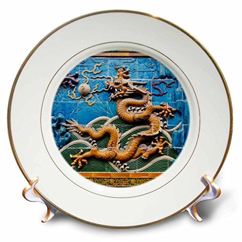Henrik Lehnerer Designs - China - Closeup of the golden dragon on a wall. - 8 inch Porcelain Plate (cp_240413_1)